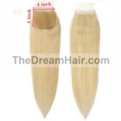 Top Closure Hair Extensions, Free Part, Colour #613 (Platinum Blonde), Made With Remy Indian Human Hair