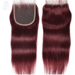 Top Closure Hair Extensions, Free Part, Colour #99j (Burgundy), Made With Remy Indian Human Hair