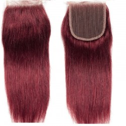 Top Closure Hair Extensions, Free Part, Colour #530 (Red Wine), Made With Remy Indian Human Hair