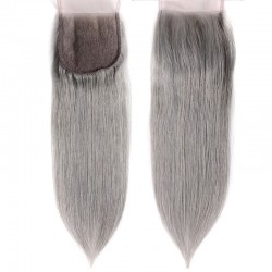 Top Closure Hair Extensions, Free Part, Colour #Silver, Made With Remy Indian Human Hair