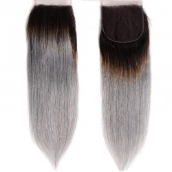Top Closure Hair Extensions, Free Part, Mix Colour #1B/Grey (Off Black / Grey), Made With Remy Indian Human Hair