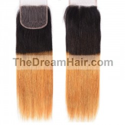 Top Closure Hair Extensions, Free Part, Mix Colour #1B/27 (Off Black / Honey Blonde), Made With Remy Indian Human Hair