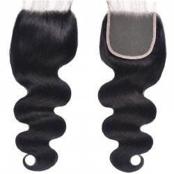Top Closure Hair Extensions, Free Part, Body Wave, Colour #1 (Jet Black), Made With Remy Indian Human Hair