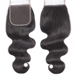 Top Closure Hair Extensions, Free Part, Body Wave, Colour #1B (Off Black), Made With Remy Indian Human Hair