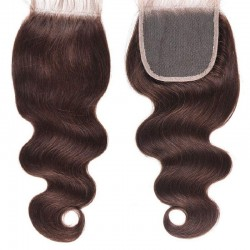 Top Closure Hair Extensions, Free Part, Body Wave, Colour #2 (Darkest Brown), Made With Remy Indian Human Hair