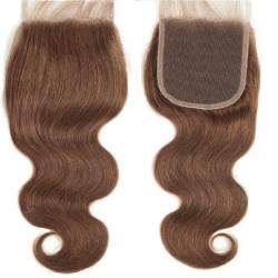 Top Closure Hair Extensions, Free Part, Body Wave, Colour #4 (Dark Brown), Made With Remy Indian Human Hair