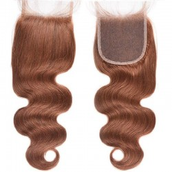Top Closure Hair Extensions, Free Part, Body Wave, Colour #6 (Medium Brown), Made With Remy Indian Human Hair