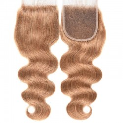 Top Closure Hair Extensions, Free Part, Body Wave, Colour #14 (Dark Ash Blonde), Made With Remy Indian Human Hair