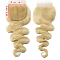Top Closure Hair Extensions, Free Part, Body Wave, Colour #22 (Light Pale Blonde), Made With Remy Indian Human Hair