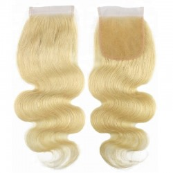 Top Closure Hair Extensions, Free Part, Body Wave, Colour #24 (Golden Blonde), Made With Remy Indian Human Hair