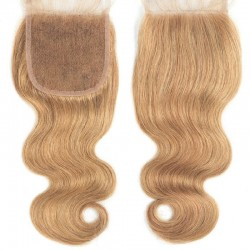 Top Closure Hair Extensions, Free Part, Body Wave, Colour #27 (Honey Blonde), Made With Remy Indian Human Hair