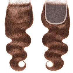 Top Closure Hair Extensions, Free Part, Body Wave, Colour #30 (Dark Auburn), Made With Remy Indian Human Hair