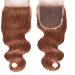 Top Closure Hair Extensions, Free Part, Body Wave, Colour #33 (Auburn), Made With Remy Indian Human Hair