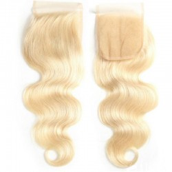 Top Closure Hair Extensions, Free Part, Body Wave, Colour #60 (Lightest Blonde), Made With Remy Indian Human Hair