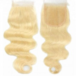 Top Closure Hair Extensions, Free Part, Body Wave, Colour #613 (Platinum Blonde), Made With Remy Indian Human Hair