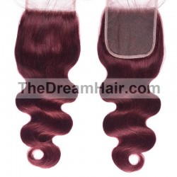 Top Closure Hair Extensions, Free Part, Body Wave, Colour #99j (Jet Black), Made With Remy Indian Human Hair