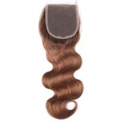 Top Closure Hair Extensions, Free Part, Body Wave, Colour #8 (Chestnut Brown), Made With Remy Indian Human Hair