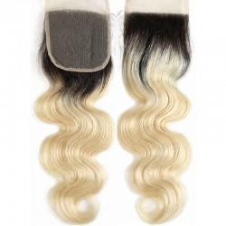 Top Closure Hair Extensions, Free Part, Body Wave, Mix Colour #1B/60 (Off Black / Lightest Blonde)