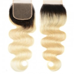 Top Closure Hair Extensions, Free Part, Body Wave, Mix Color #1B/613 (Off Black/Platinum Blonde), Made of Remy Indian Human Hair