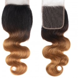 Top Closure Hair Extensions, Free Part, Body Wave, Mix Color #1B/27 (Off Black/Honey Blonde), Made With Remy Indian Human Hair