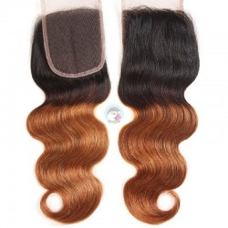 Top Closure Hair Extensions, Free Part, Body Wave, Mix Colour #1B/33 (Off Black / Auburn)Made With Remy Indian Human Hair