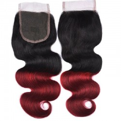 Top Closure Hair Extensions, Free Part, Body Wave, Mix Colour #1B/99j (Off Black / Burgundy), Made With Remy Indian Human Hair