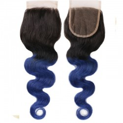 Top Closure Hair Extensions, Free Part, Body Wave, Mix Colour #1B/Blue (Off Black / Blue), Made With Remy Indian Human Hair