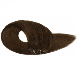 Micro Ring Weft Hair Extensions, Colour #4 (Dark Brown), Made With Remy Indian Human Hair