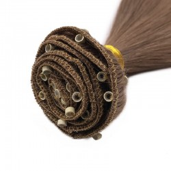 Micro Ring Weft Hair Extensions, Colour #6 (Medium Brown), Made With Remy Indian Human Hair