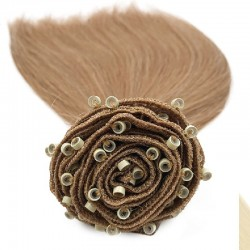 Micro Ring Weft Hair Extensions, Colour #12 (Light Brown), Made With Remy Indian Human Hair