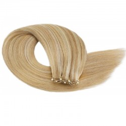 Micro Ring Weft Hair Extensions, Mix Colour #27/60 (Honey Blonde / Lightest Blonde), Made With Remy Indian Human Hair