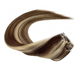 Micro Ring Weft Hair Extensions, Mix Colour #4/613 (Dark Brown / Platinum Blonde), Made With Remy Indian Human Hair