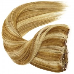 Micro Ring Weft Hair Extensions, Mix Colour #18/22 (Light Ash Blonde / Light Pale Blonde), Made With Remy Indian Human Hair