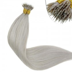 Nano Ring Hair Extensions, Color #Grey, Made With Remy Indian Human Hair