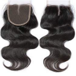 Top Closure Hair Extensions, Middle Part, Body Wave, Colour #1 (Jet Black), Made With Remy Indian Human Hair