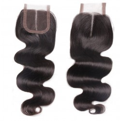 Top Closure Hair Extensions, Middle Part, Body Wave, Colour #1B (Off Black), Made With Remy Indian Human Hair