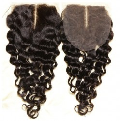 Top Closure Hair Extensions, Middle Part, Loose Wavy, Colour #1B (Off Black), Made With Remy Indian Human Hair