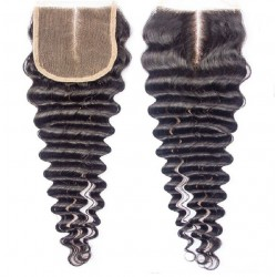 Top Closure Hair Extensions, Middle Part, Deep Wavy, Colour #1B (Off Black), Made With Remy Indian Human Hair