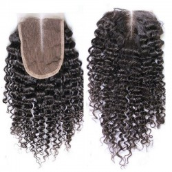 Top Closure Hair Extensions, Middle Part, Curly, Colour #1B (Off Black), Made With Remy Indian Human Hair