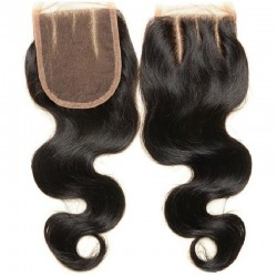 Top Closure Hair Extensions, Three-Part, Body Wave, Colour #1B (Off Black), Made With Remy Indian Human Hair