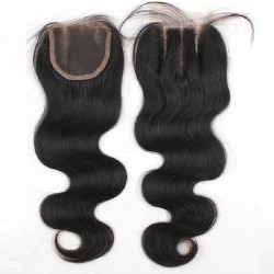 Top Closure Hair Extensions, Three-Part, Body Wave, Colour #1 (Jet Black), Made With Remy Indian Human Hair