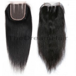 Top Closure Hair Extensions, Three-Part, Colour #1B (Off Black), Made With Remy Indian Human Hair