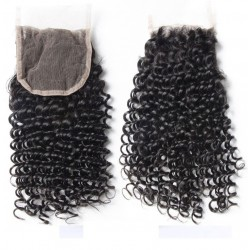 Top Closure Hair Extensions, Free Part, Curly, Colour #1 (Jet Black), Made With Remy Indian Human Hair