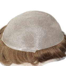 Men's Wig - Toupee, Ultra-Thin Skin Base 0.03mm, Color #7ASH (Light Brown with Ash Tone), Made With Remy Indian Human Hair
