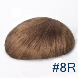 Men's Wig - Toupee, Ultra-Thin Skin Base 0.03mm, Color #8R (Light Ash Brown), Made With Remy Indian Human Hair