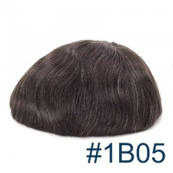Men's Wig - Toupee, Super-Thin Skin Base 0.06mm, Color #1B05 (Off Black with 5% Grey Hair), Made With Remy Indian Human Hair