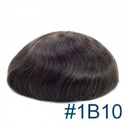 Men's Wig - Toupee, Super-Thin Skin Base 0.06mm, Color #1B10 (Off Black with 10% Grey Hair), Made With Remy Indian Human Hair