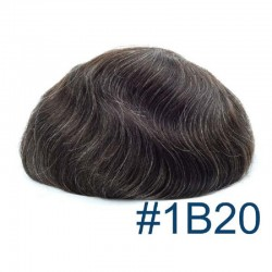 Men's Wig - Toupee, Super-Thin Skin Base 0.06mm, Color #1B20 (Off Black with 20% Grey Hair), Made With Remy Indian Human Hair