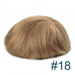 Men's Wig - Toupee, Super-Thin Skin Base 0.06mm, Color #18 (Dark Blonde), Made With Remy Indian Human Hair