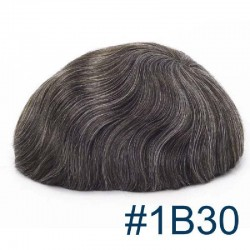 Men's Wig - Toupee, Super-Thin Skin Base 0.08mm, Color #1B30 (Off Black with 30% Grey Hair), Made With Remy Indian Human Hair